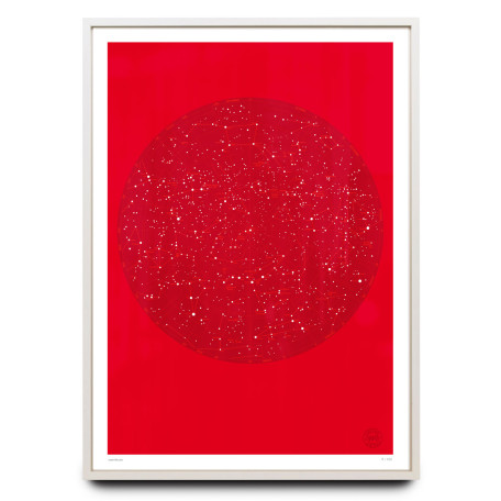 Celestial sky design on red limited edition print