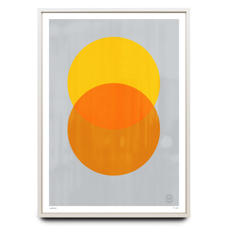 Overprinted yellow and orange circles limited edition print
