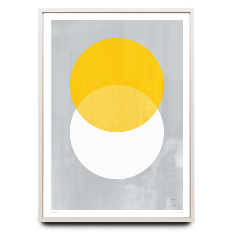 Overprinted yellow and white circles limited edition print