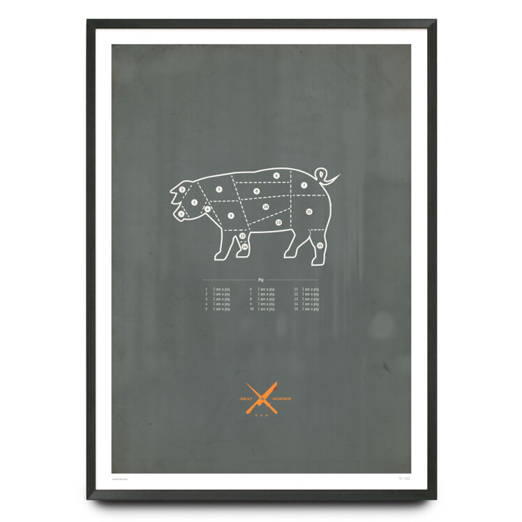 Vegan butchers diagram limited edition print