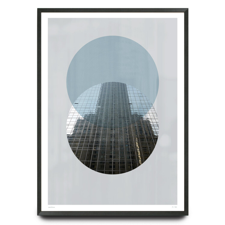Skyscraper photograph with graphic circles limited edition print