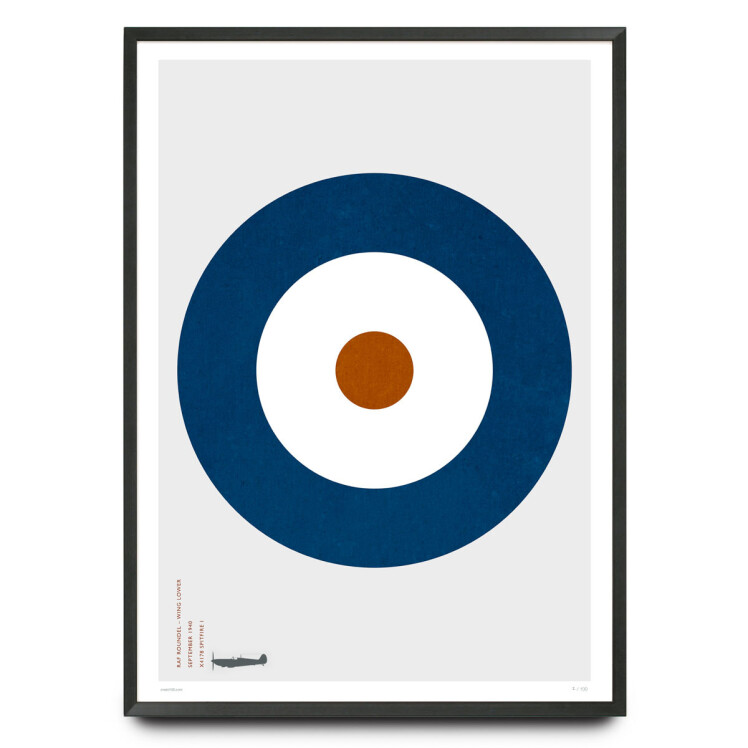 Spitfire RAF type A roundel design limited edition print