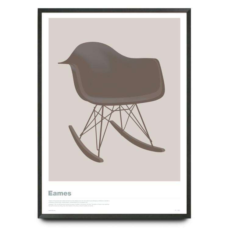 Eames RAR chair illustration in warm grey limited edition print
